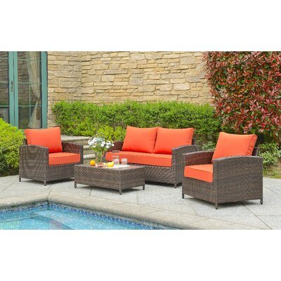 Marybeth 4 Piece Deep Seating Group with Cushion Fabric: Orange