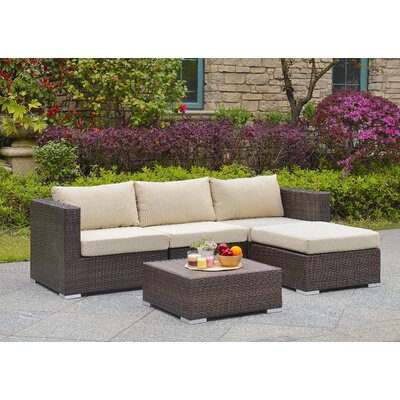 Bonaventure 5 Piece Deep Seating Group with Cushion Fabric: Tan