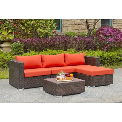 Asther 5 Piece Deep Seating Group with Cushion Fabric: Orange