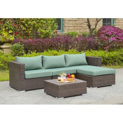 Asther 5 Piece Deep Seating Group with Cushion Fabric: Green