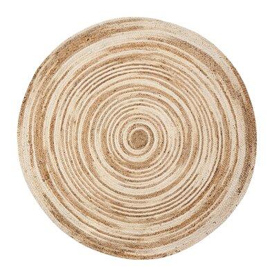 Lansing Handmade Tan/Ivory Area Rug Rug Size: Round 4
