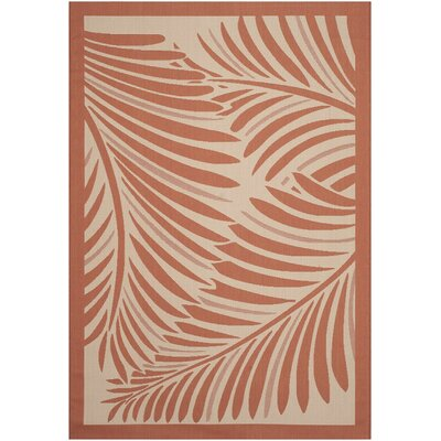 Tropic Palm Beige/Terracotta Area Rug Rug Size: 67 x 96