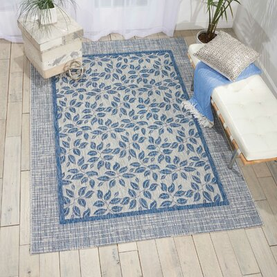 Key Haven Ivory/Blue Indoor/Outdoor Area Rug Rug Size: Rectangle 53 x 73