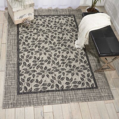 Key Haven Ivory/Charcoal Indoor/Outdoor Area Rug Rug Size: 96 x 13