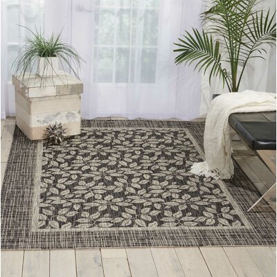Key Haven Charcoal Indoor/Outdoor Area Rug Rug Size: Rectangle 36 x 56