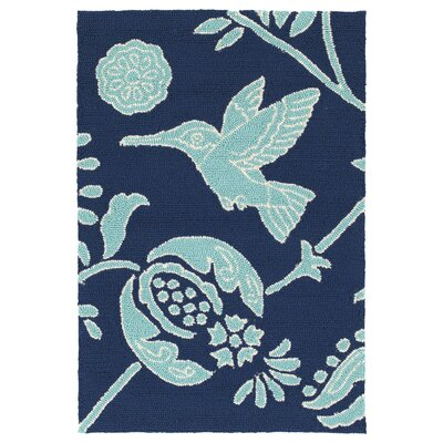 Navarre Handmade Navy Indoor/Outdoor Area Rug Rug Size: 2 x 3