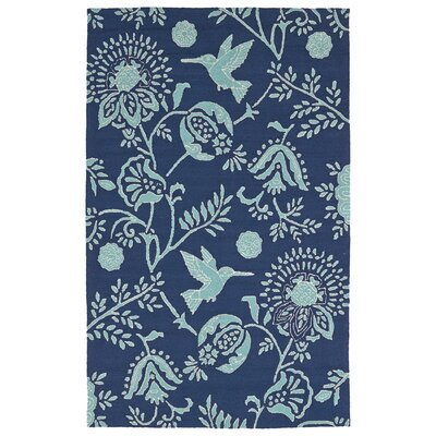 Navarre Handmade Navy Indoor/Outdoor Area Rug Rug Size: 5 x 76