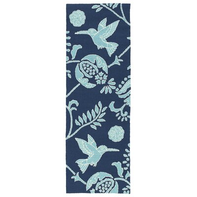 Navarre Handmade Navy Indoor/Outdoor Area Rug Rug Size: Runner 2 x 6