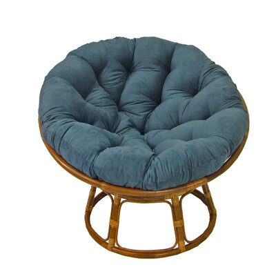 Decker Rattan Papasan Chair with Cushion Upholstery: Indigo