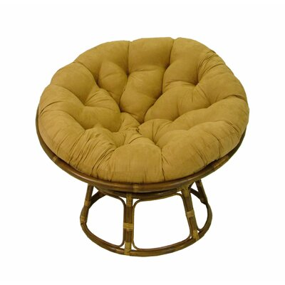 Decker Rattan Papasan Chair with Cushion Upholstery: Camel