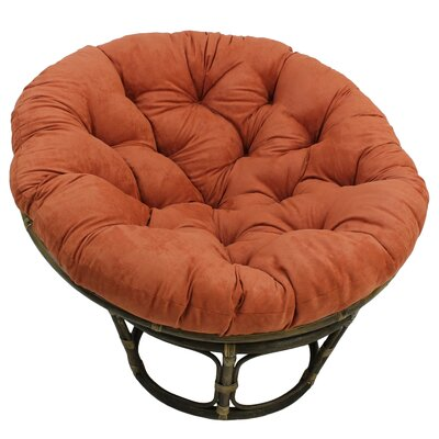 Decker Rattan Papasan Chair with Cushion Upholstery: Spice