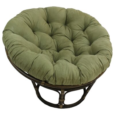 Decker Rattan Papasan Chair with Cushion Upholstery: Sage