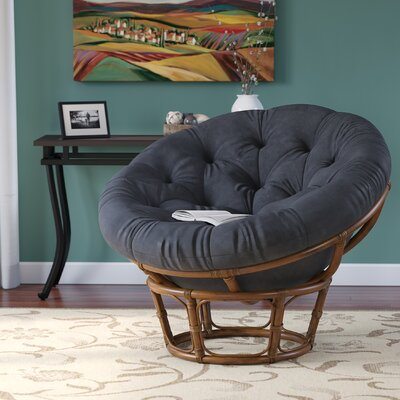 Decker Rattan Papasan Chair Upholstery: Black