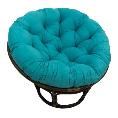 Decker Rattan Papasan Chair with Cushion Upholstery: Aqua Blue