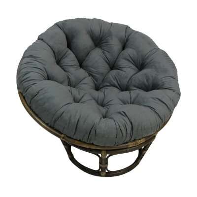 Decker Rattan Papasan Chair with Cushion Upholstery: Grey