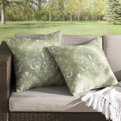 Hardouin Outdoor Throw Pillow Size: 16 H x 16 W x 3 D, Color: Green