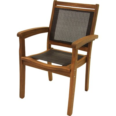 Sling and Eucalyptus Stackable Arm Chair Mesh Insert Color: Brown