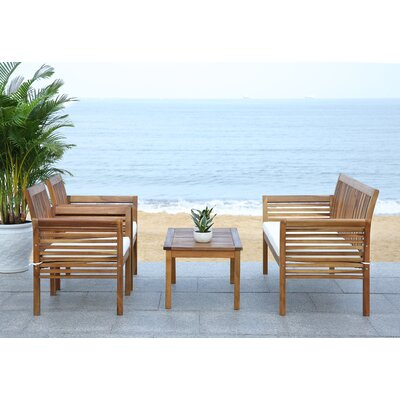 Stoneford 4 Piece Seating Group with Cushion Finish: Teak Look