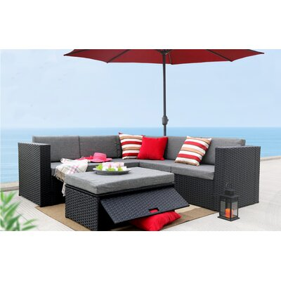 4 Piece Sectional Seating Group with Cushion Finish: Black