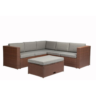 4 Piece Sectional Seating Group with Cushion Finish: Brown