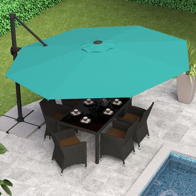 Reid 11 Cantilever Umbrella Fabric: Turquoise Blue