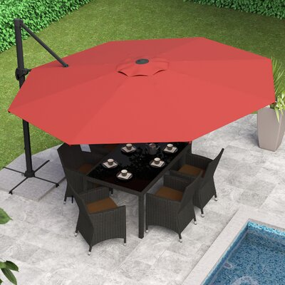 Reid 11 Cantilever Umbrella Fabric: Wine Red