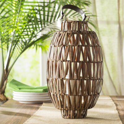Wicker Table Lantern Size: Medium