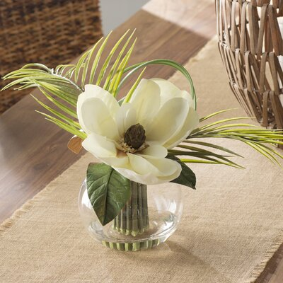 Tropical Magnolia with Palm Leaves