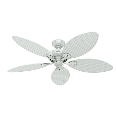 54 Charleston 5 Blade Outdoor  Ceiling Fan Finish: White with White Wicker Blades