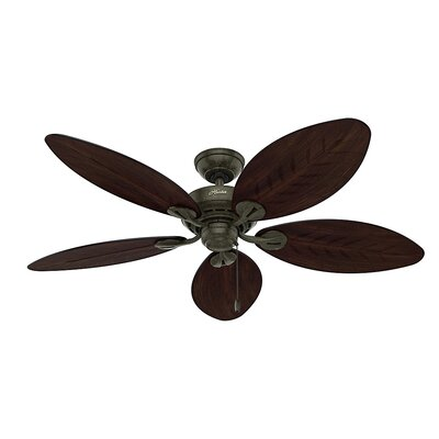 54 Charleston 5 Blade Outdoor  Ceiling Fan Finish: Provencal Gold with Antique Dark Wicker/Antique Da