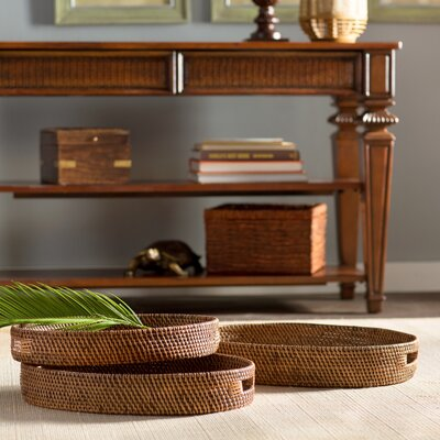 3 Piece Wood and Rattan Tray Set