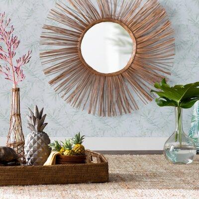 Round Brown Natural Rattan Wall Mirror