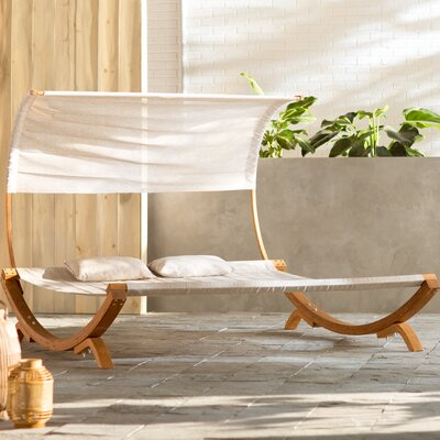 Maura Double Chaise Lounge with Cushion Fabric: Beige, Finish: Teak