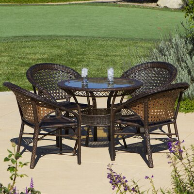 Assia 5 Piece Wicker Outdoor Dining Set