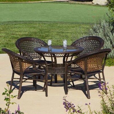 Charis 5 Piece Wicker Outdoor Dining Set