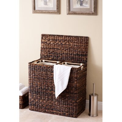 Oversized Divided Wicker Laundry Sorter Color: Espresso
