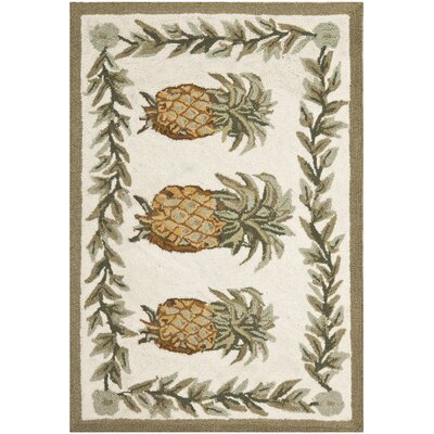 Everglades Ivory/Green Novelty Area Rug Rug Size: 2' x 3'