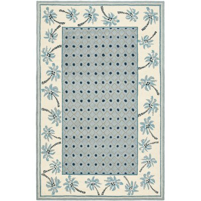 Hogle Blue/Ivory Rug Rug Size: Rectangle 18 x 26