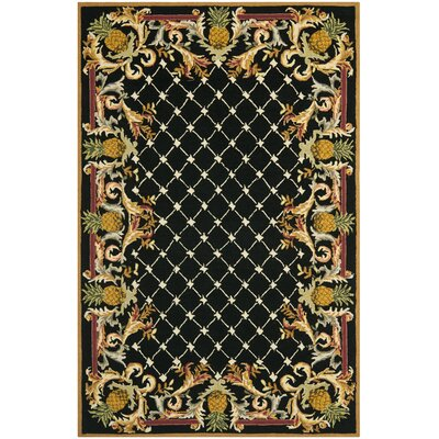 Everglades Black/Multi Pineapple Rug Rug Size: 53 x 83