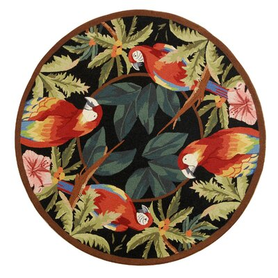 Hogle Tropical Parrot Novelty Area Rug Rug Size: Round 8