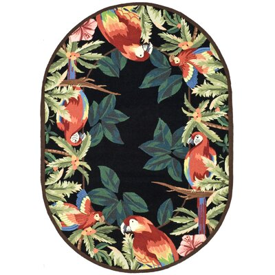Hogle Tropical Parrot Novelty Area Rug Rug Size: Oval 76 x 96