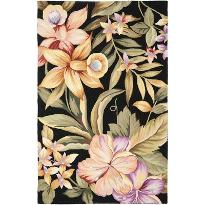 Everglades Black Novelty Area Rug Rug Size: Oval 76 x 96