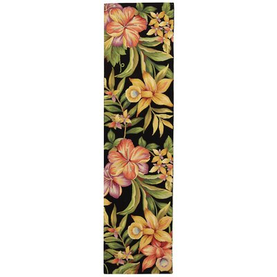 Hogle Black Novelty Area Rug Rug Size: Runner 26 x 8