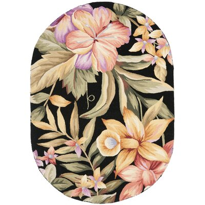 Hogle Black Novelty Area Rug Rug Size: Oval 76 x 96