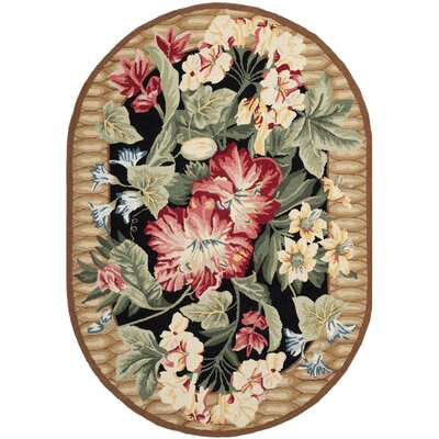 Everglades Black/Brown Novelty Rug Rug Size: Oval 46 x 66