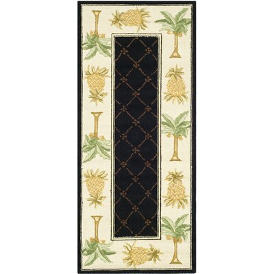 Everglades Black/Ivory Novelty Rug Rug Size: Runner 26 x 10