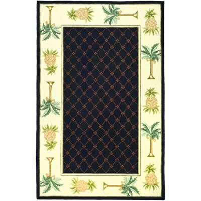 Hogle Black/Ivory Novelty Rug Rug Size: Rectangle 79 x 99