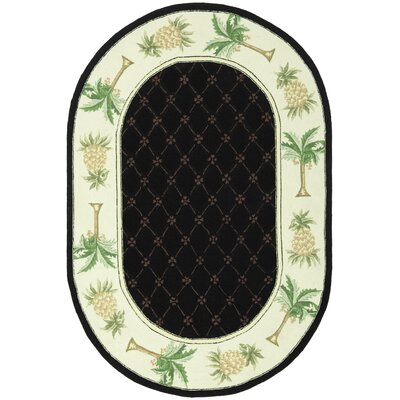 Everglades Black/Ivory Novelty Rug Rug Size: Oval 46 x 66