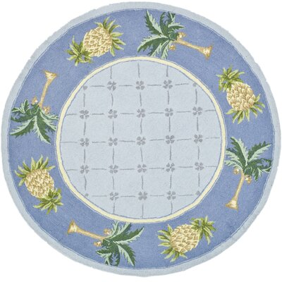 Hogle Light Blue/ Blue Novelty Area Rug Rug Size: Round 4