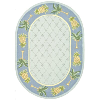 Everglades Light Blue/ Blue Novelty Area Rug Rug Size: Oval 76 x 96